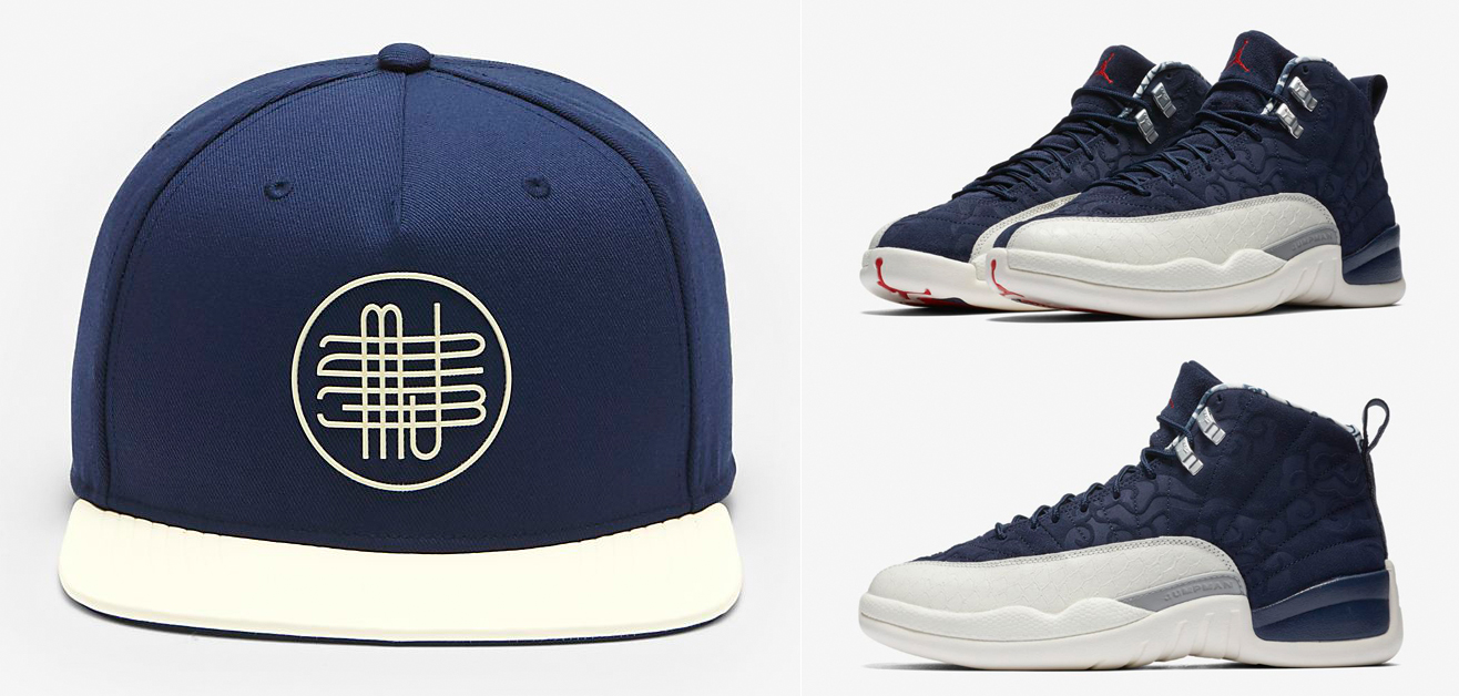 "f0dd8d31d8e0a7 Air Jordan 12 ""International Flight"" x Jordan Pro AJ 12 Woven Snapback Cap"