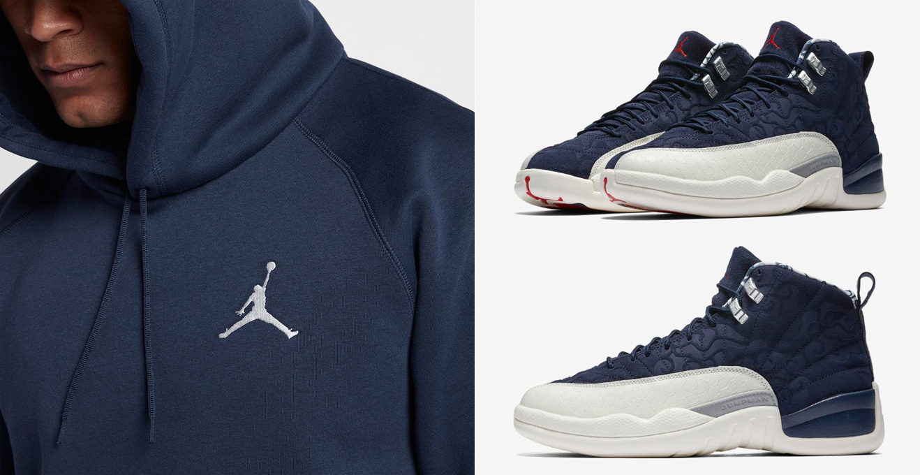 "size 40 e29fe 21940 Air Jordan 12 ""International Flight"" x Jordan Flight Fleece Navy Hoodies to  Match"