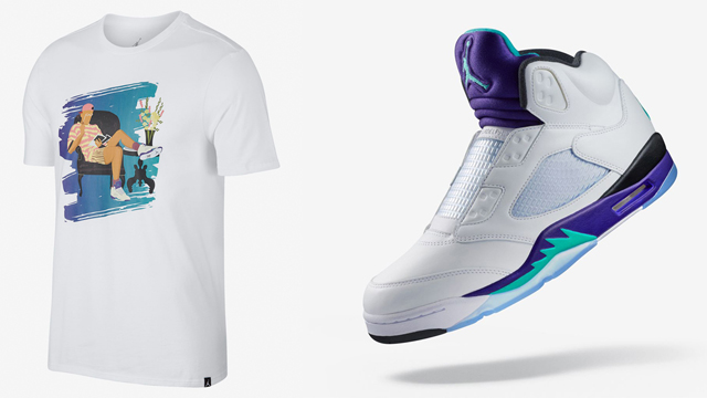 "cac2a3c23ce042 Releasing right in time for Will Smith s 50th birthday and the launch of  the laceless Air Jordan 5 ""Grape"" sneakers is this Air Jordan Fresh Prince  T-Shirt ..."