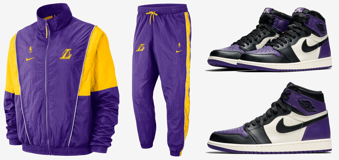 Jordan 1 Court Purple Lakers Jacket Pants Match
