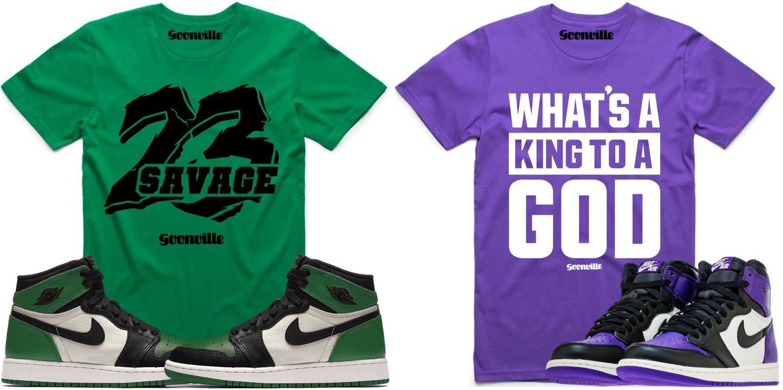 """0ccd17038575 Goonville Sneaker T-Shirts to Match the Air Jordan 1 """"Pine Green"""" and  """"Court Purple"""""""