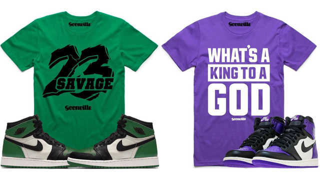 "4b446483b329 Goonville Sneaker T-Shirts to Match the Air Jordan 1 ""Pine Green"" and  ""Court Purple"""