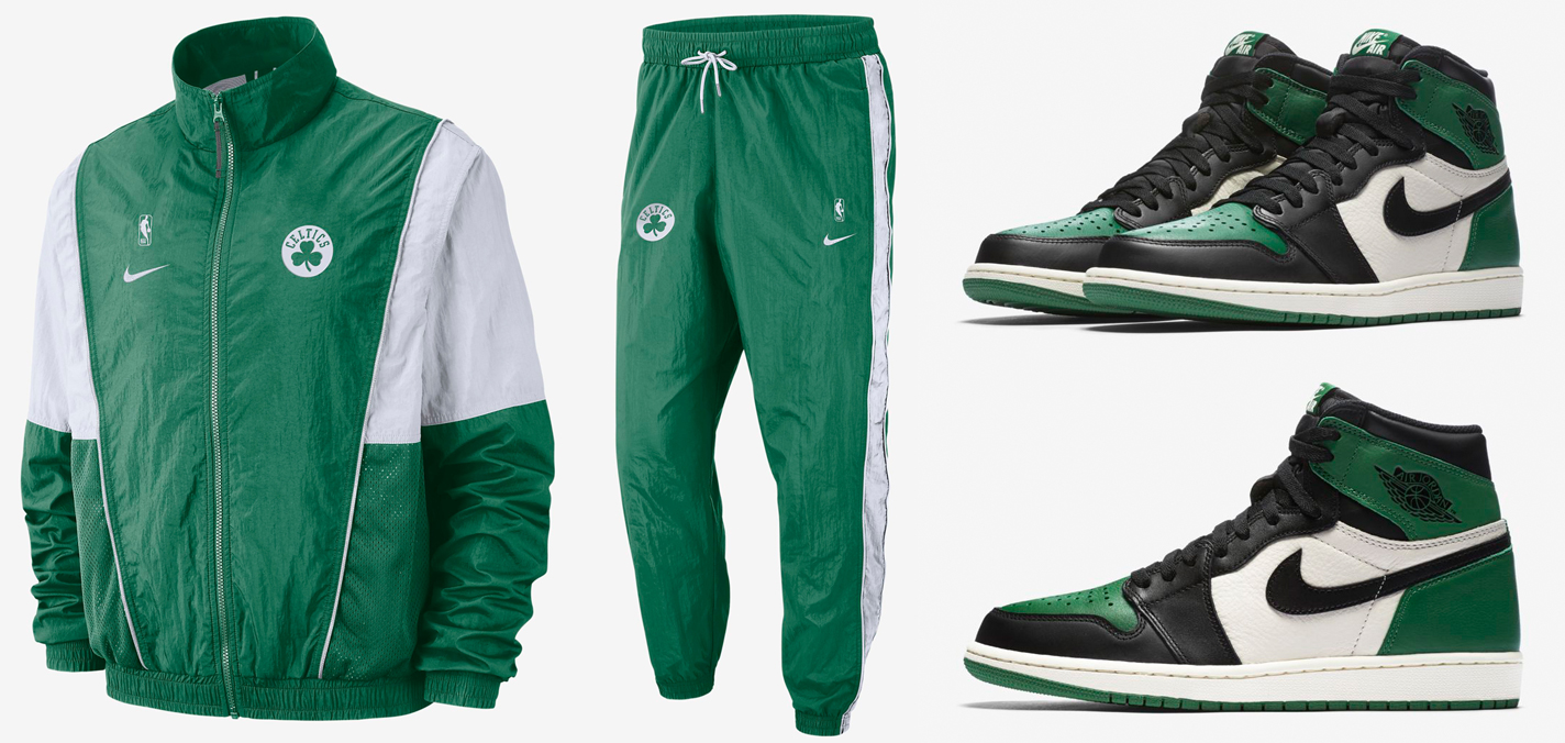 6178dc10b2f6bf Jordan 1 Pine Green Celtics Jacket Pants Match