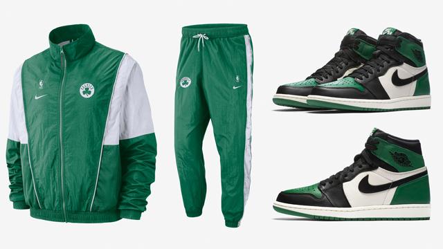 "af4d415f1d3f Air Jordan 1 ""Pine Green"" x Nike Boston Celtics NBA Throwback Track Suit"