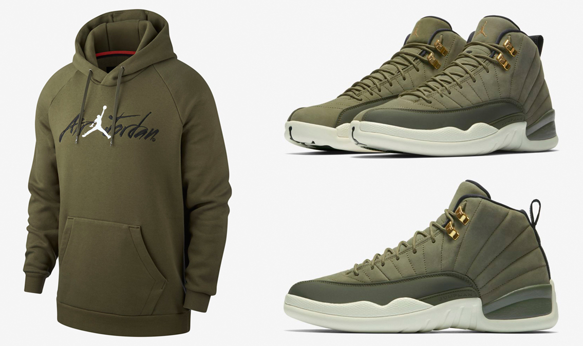 jordan-12-chris-paul-olive-hoodie-match