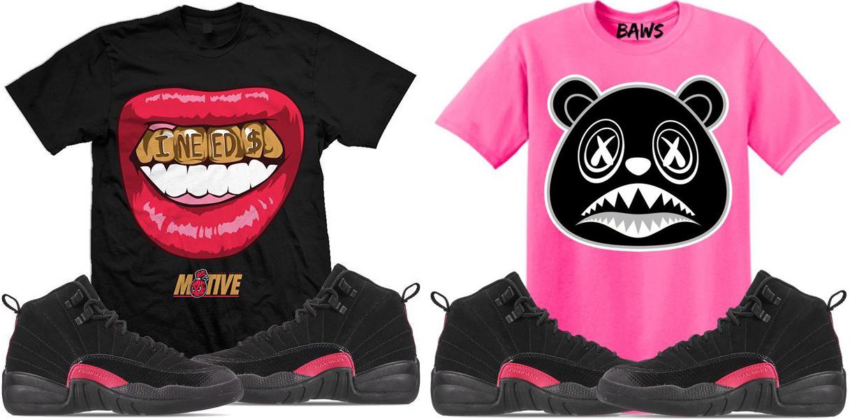 jordan-12-rush-pink-sneaker-tee-shirts
