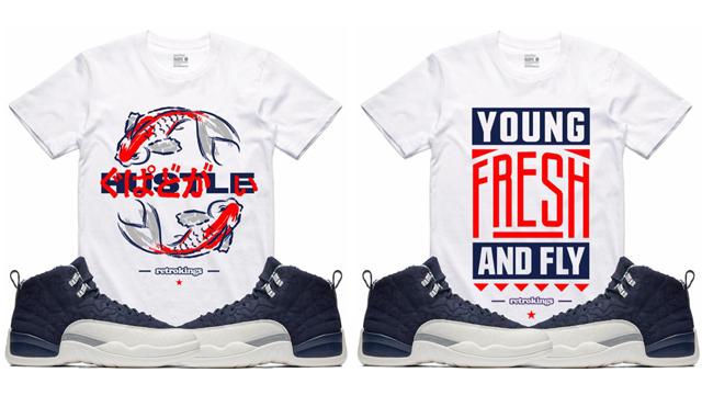 """38e8a15f9a860d Air Jordan 12 """"International Flight"""" x Retro Kings Sneaker Shirts to Match"""