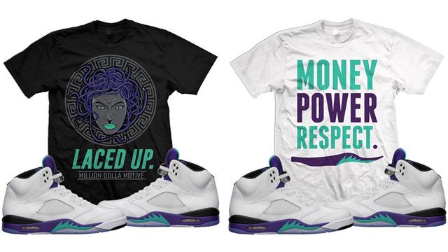 """73e290159339a2 Air Jordan 5 """"Fresh Prince"""" x Million Dolla Motive Sneaker T-Shirts to Match"""