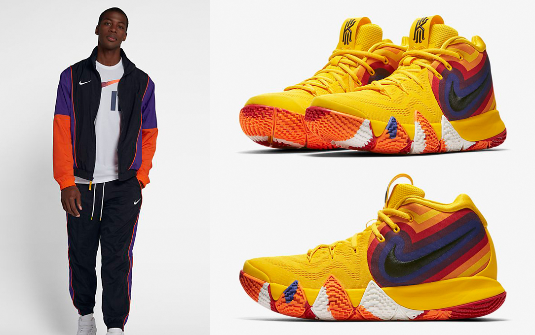 "79122320498 Nike Kyrie 4 ""70s"" x Nike Throwback Woven Tracksuit Basketball Jacket and  Pants"