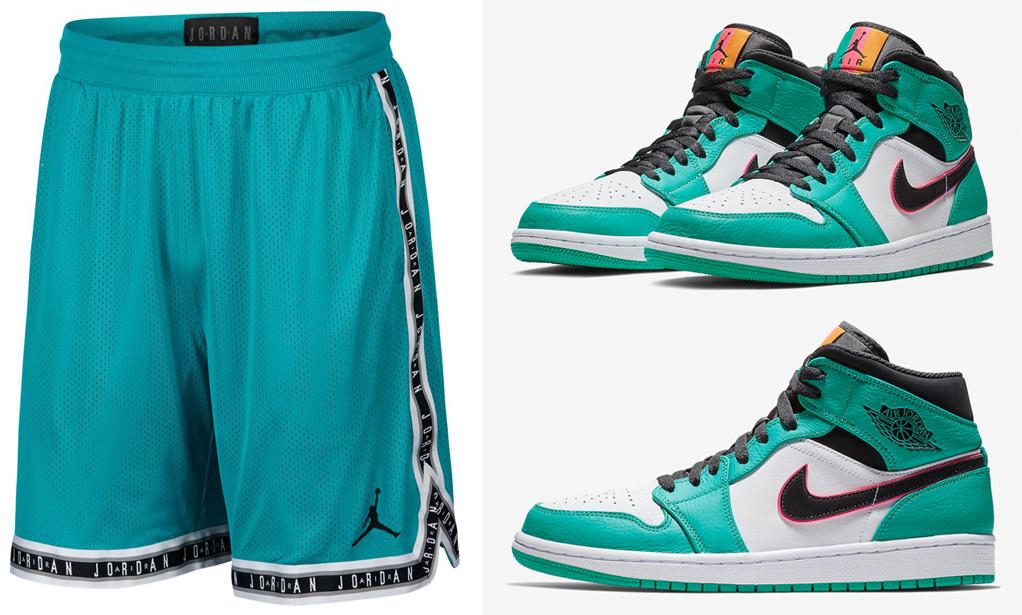 alojamiento Infidelidad menos  Air Jordan 1 Mid South Beach Shorts Match | SneakerFits.com