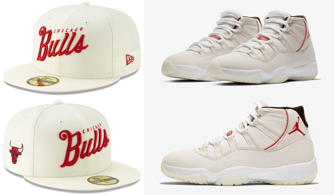 "ae28ad524e3ba8 Air Jordan 11 ""Platinum Tint"" x Chicago Bulls New Era Jersey Script 59FIFTY  Cap"