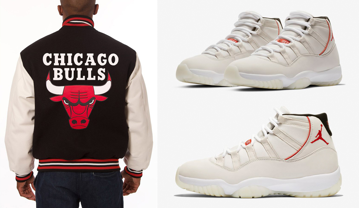 "96b5aa4bc94847 Air Jordan 11 ""Platinum Tint"" x Chicago Bulls Two-Tone Wool and Leather  Jackets"