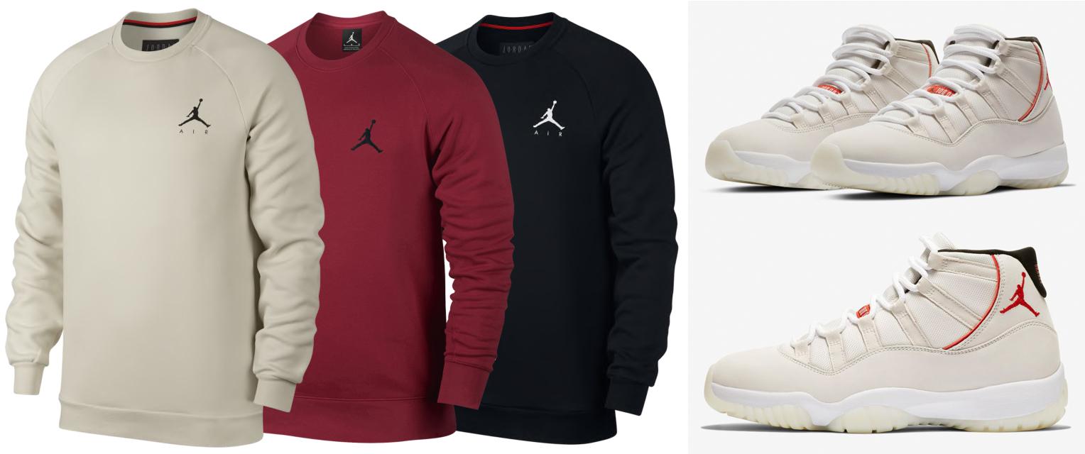 "08400b2bec7 Air Jordan 11 ""Platinum Tint"" x Jordan Jumpman Air Fleece Crew Sweatshirts"