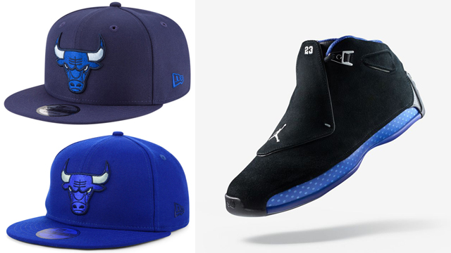 "49370ca3093a13 Air Jordan 18 OG ""Black Sport Royal"" x New Era Chicago Bulls Snapback and  Fitted Caps"
