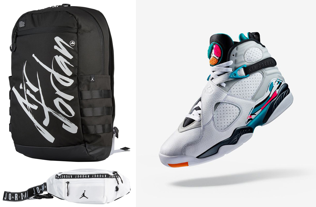 "2ba54a89af9bcf Air Jordan 8 ""South Beach"" x Jordan Script Backpack and Jordan Crossbody  Bags"