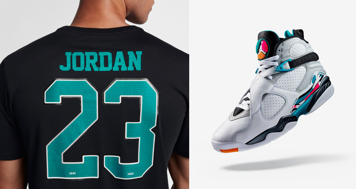 "303e339fe2f477 Air Jordan 8 ""South Beach"" x Jordan 23 Black Turbo Green Name   Number  T-Shirt"