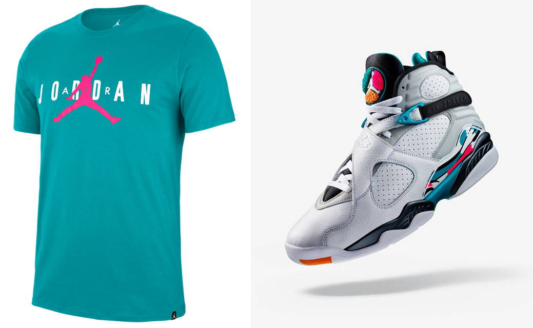 "timeless design fbb52 e6ada Air Jordan 8 ""South Beach"" x Jordan Jumpman Air Turbo Green Hyper Pink  T-Shirt"