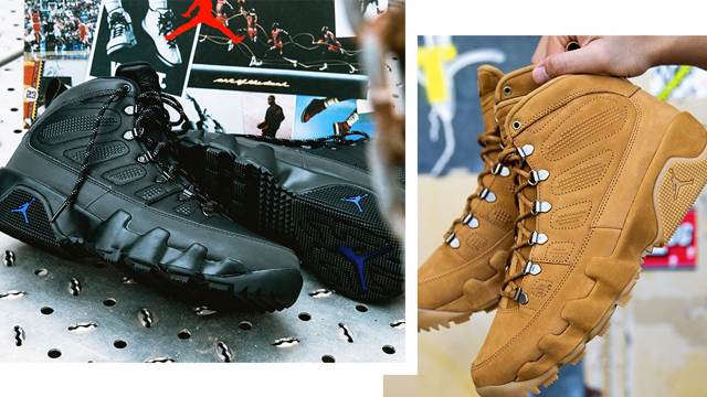 "660547dbcb53bb Air Jordan 9 Retro NRG Boot Available Now in ""Black Concord"" and  ""Wheat Baroque Brown"""