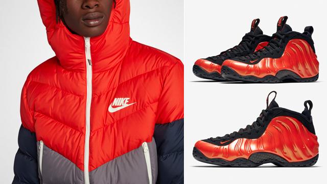 "6b4b94e8394 Nike Air Foamposite One ""Habanero Red"" x Nike Sportswear Down Fill Jackets  to Match"