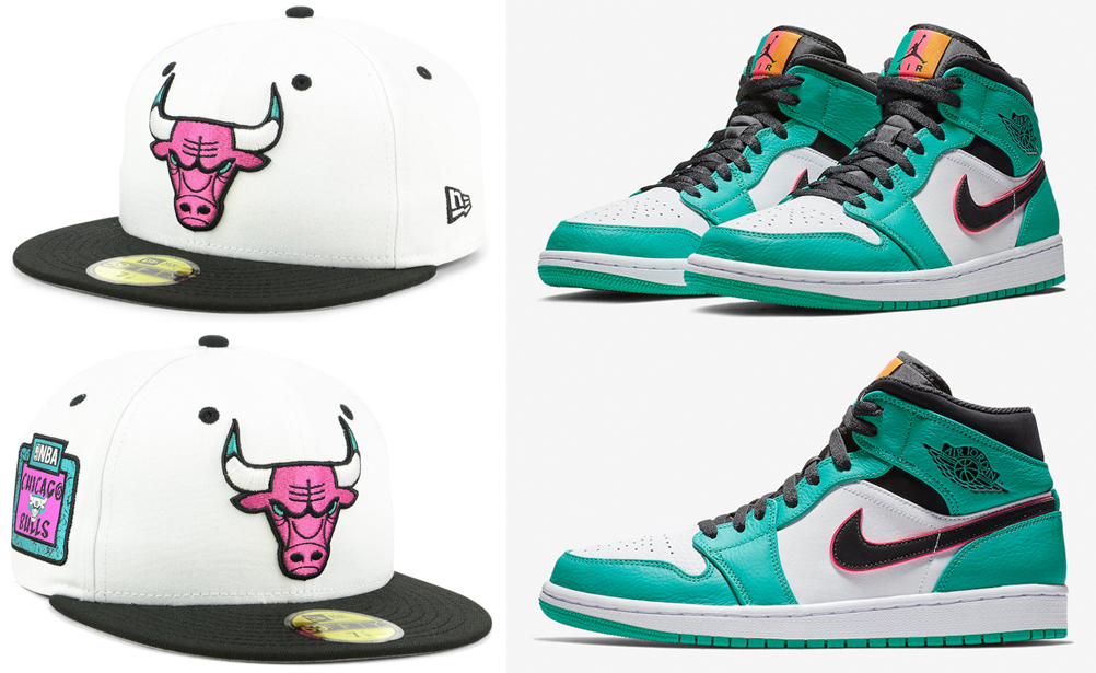 jordan-1-south-beach-bulls-hat-match