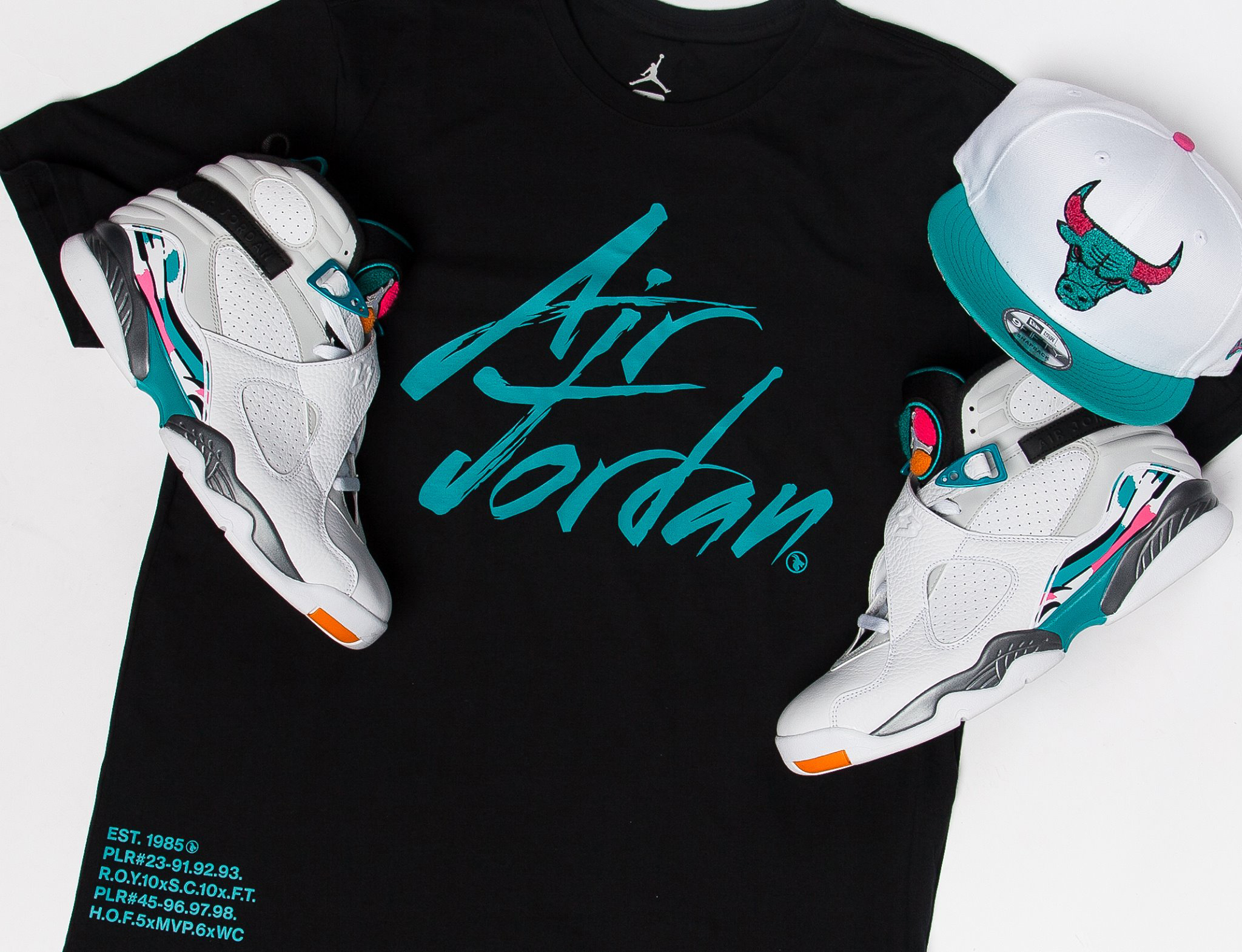 "272b4c88eaf57c Air Jordan 8 ""South Beach"" x Jordan Greatest T-Shirt x New Era Bulls Retro 8  Snapback Cap"