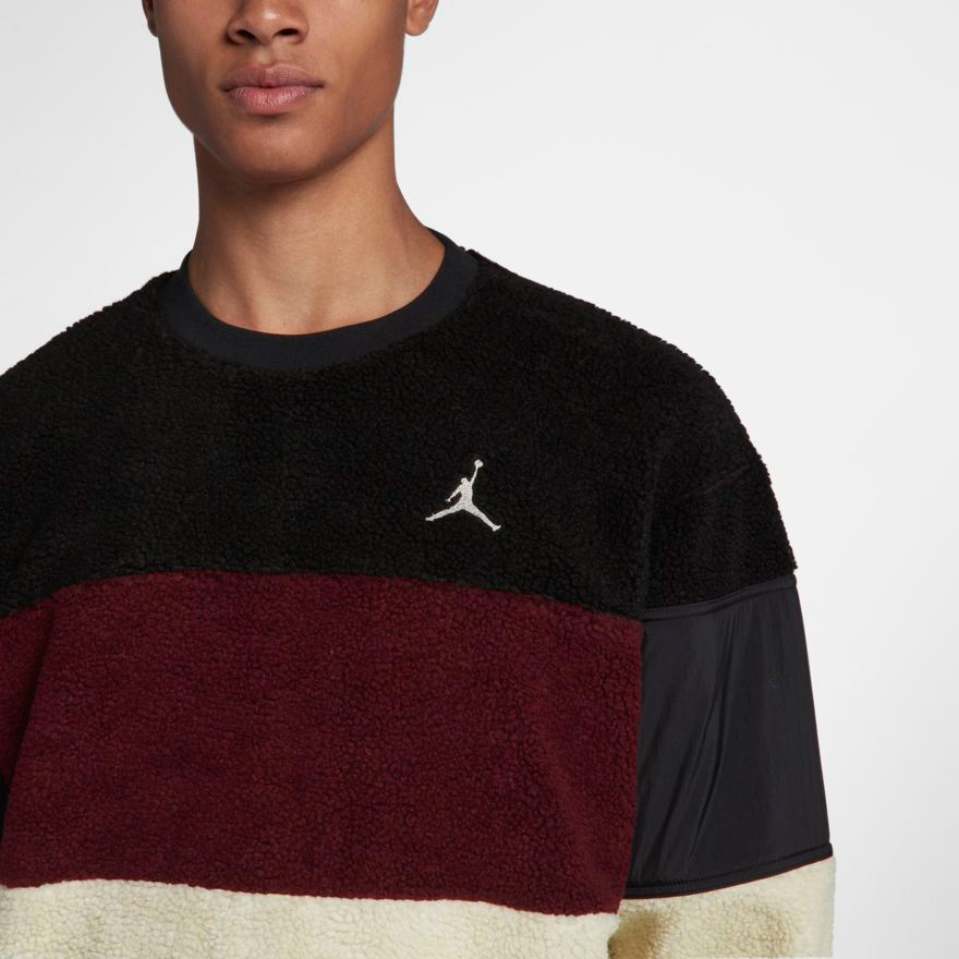 6085947108ed29 jordan-sherpa-crew-sweatshirt-black-burgundy-bone-1