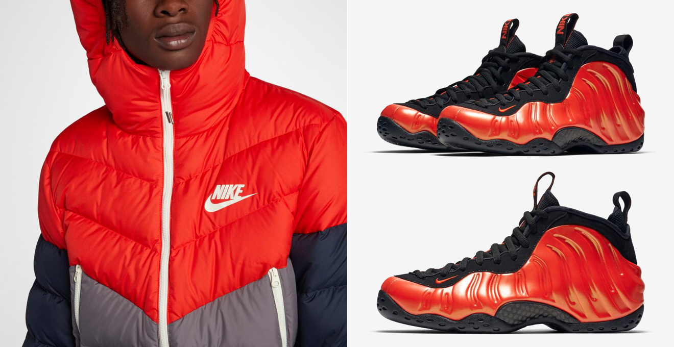 "82664d2cac6 Nike Air Foamposite One ""Habanero Red"" x Nike Sportswear Down Fill Jackets  to Match"