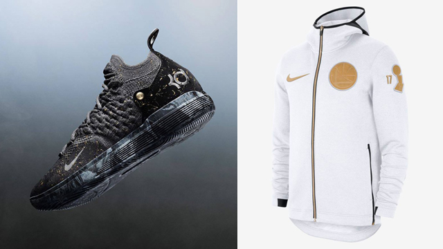 "8ef64ee7bad9d Nike KD 11 ""Gold Splatter"" x Nike Golden State Warriors Back to Back NBA  Champions Gear"
