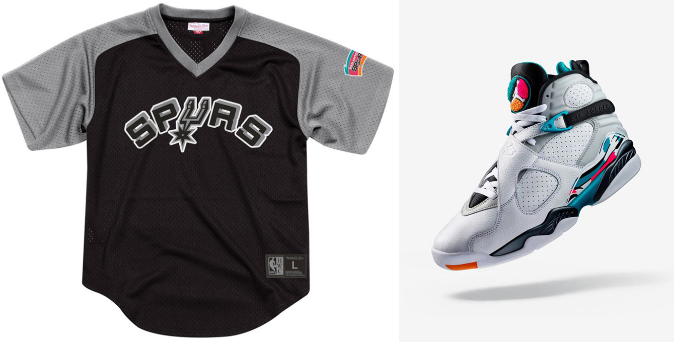 "4d8080720 Air Jordan 8 ""South Beach"" x Mitchell   Ness San Antonio Spurs Mesh V-Neck  Jersey Shirt"
