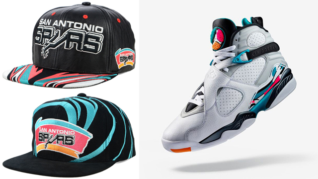 "3020741f594bb8 New Mitchell   Ness Spurs Snapback Caps to Match the Air Jordan 8 ""South  Beach"""