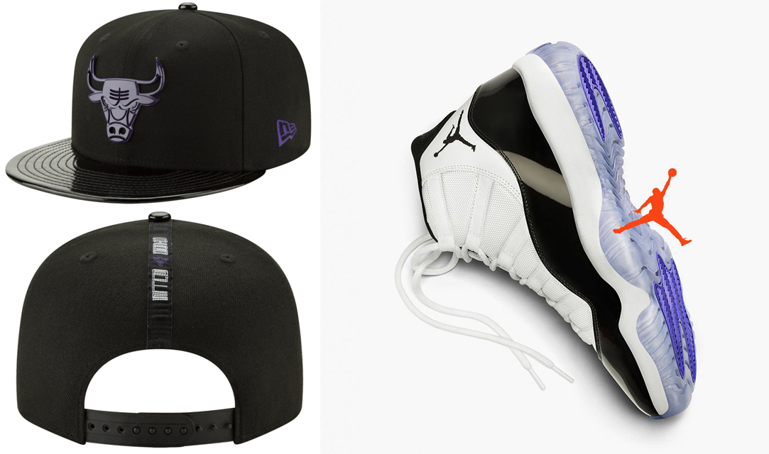 "6ea17095435d Air Jordan 11 ""Concord"" x Chicago Bulls New Era Retro 11 Concord Hook  Snapback Cap"