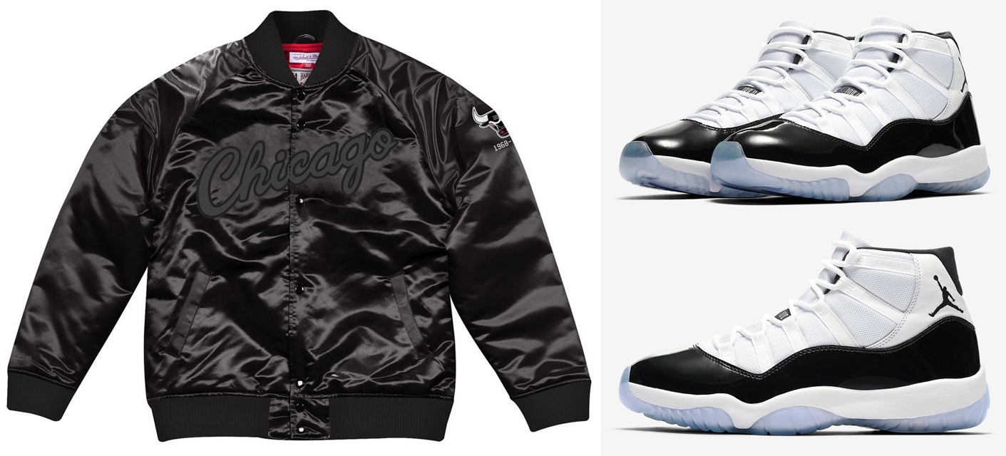 2936a00f5 air-jordan-11-concord-2018-bulls-jacket. Sync up the Concord 11s in sleek  style with these new Mitchell & Ness NBA Tough Season Black Satin ...