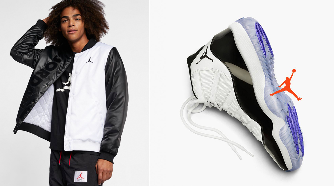 "the latest 42eb7 e8619 Air Jordan 11 ""Concord"" x Jordan Sportswear Legacy AJ 11 Satin Jacket"