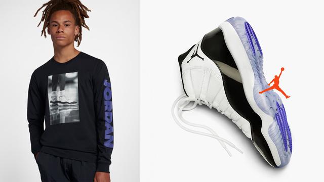 "0ab63398ee8e21 Air Jordan 11 ""Concord"" x Jordan Retro 11 Long Sleeve Sneaker Photo T-Shirt"