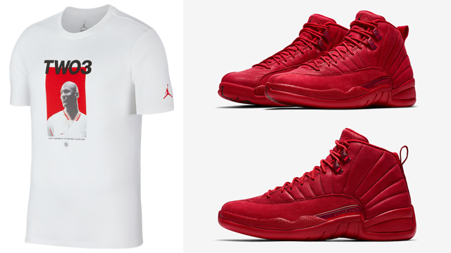 "b80f492123f2 A few new Jordan Retro 12 T-Shirts are available to match the Air Jordan 12  ""Gym Red"" sneakers including red and white tees to hook with the kicks."