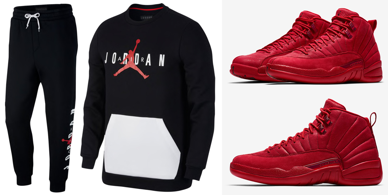 "6ec1398f4ec Air Jordan 12 ""Gym Red"" x Jordan Jumpman Air Fleece Crew Sweatshirt and  Pants"