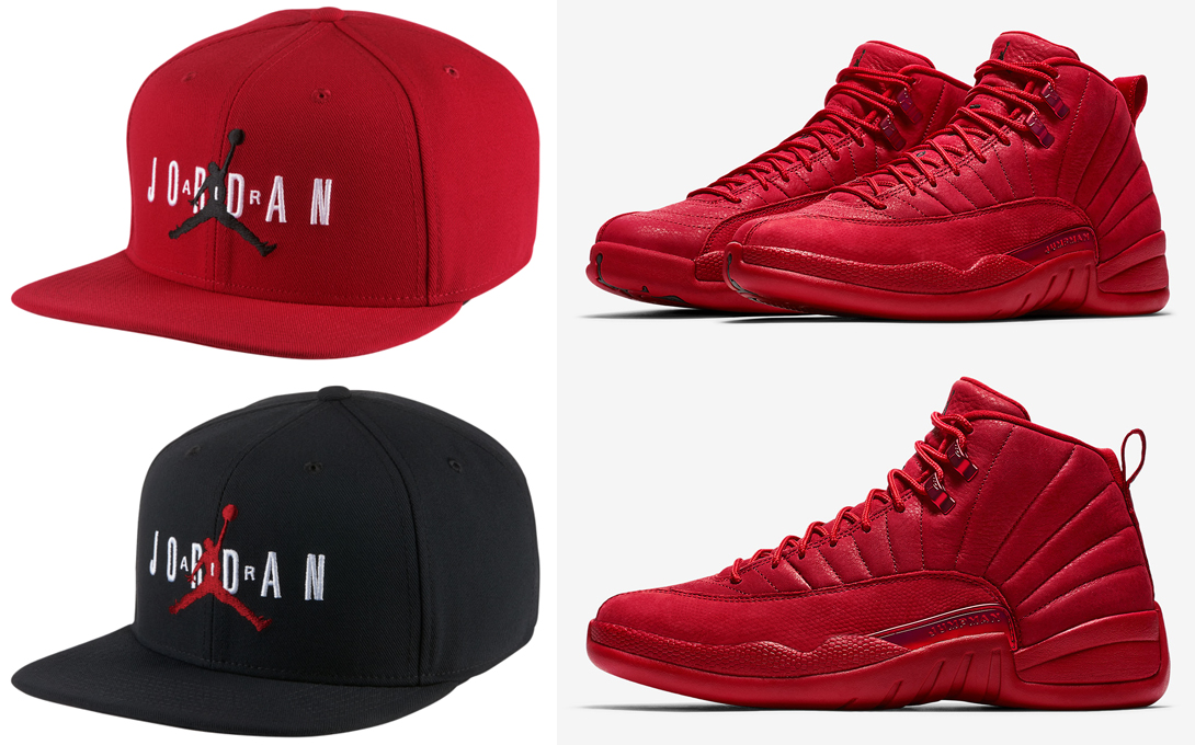 "37225814374 Air Jordan 12 ""Gym Red"" x Jordan Jumpman Air Snapback Caps"