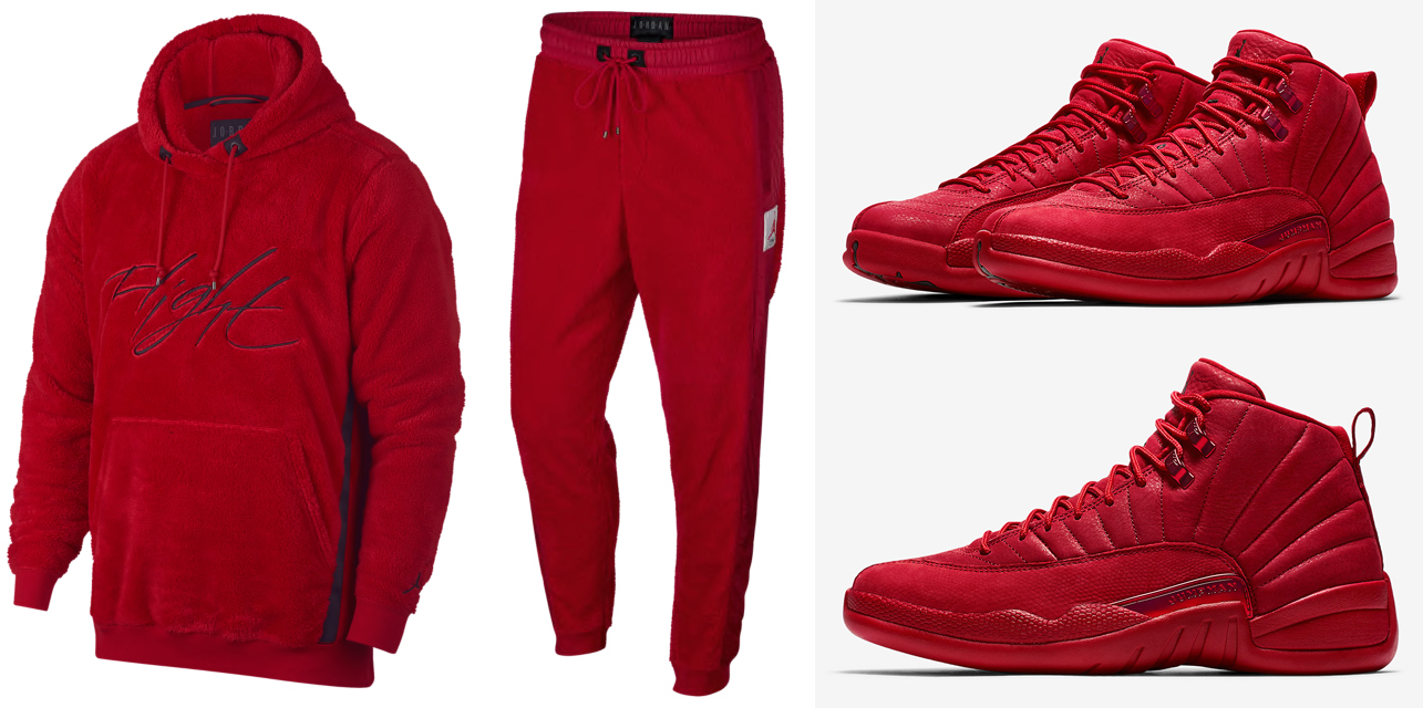 casual shoes exclusive deals cheap price Jordan 12 Gym Red Sherpa Hoodie Pant Match | SneakerFits.com