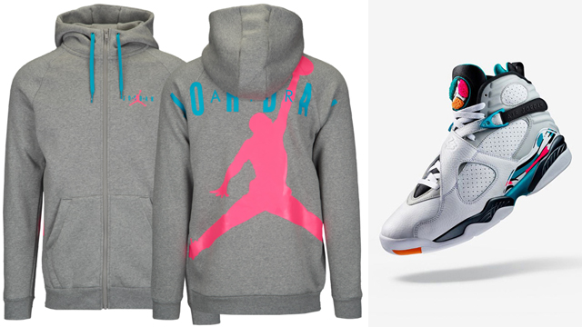 "842a0fa3bf3ce9 Air Jordan 8 ""South Beach"" x Jordan Jumpman Air HBR ""South Beach"" Full-Zip  Hoodie"