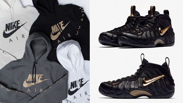 finest selection a0aee 9f098 black-gold-foams-foamposite-hoodie-match