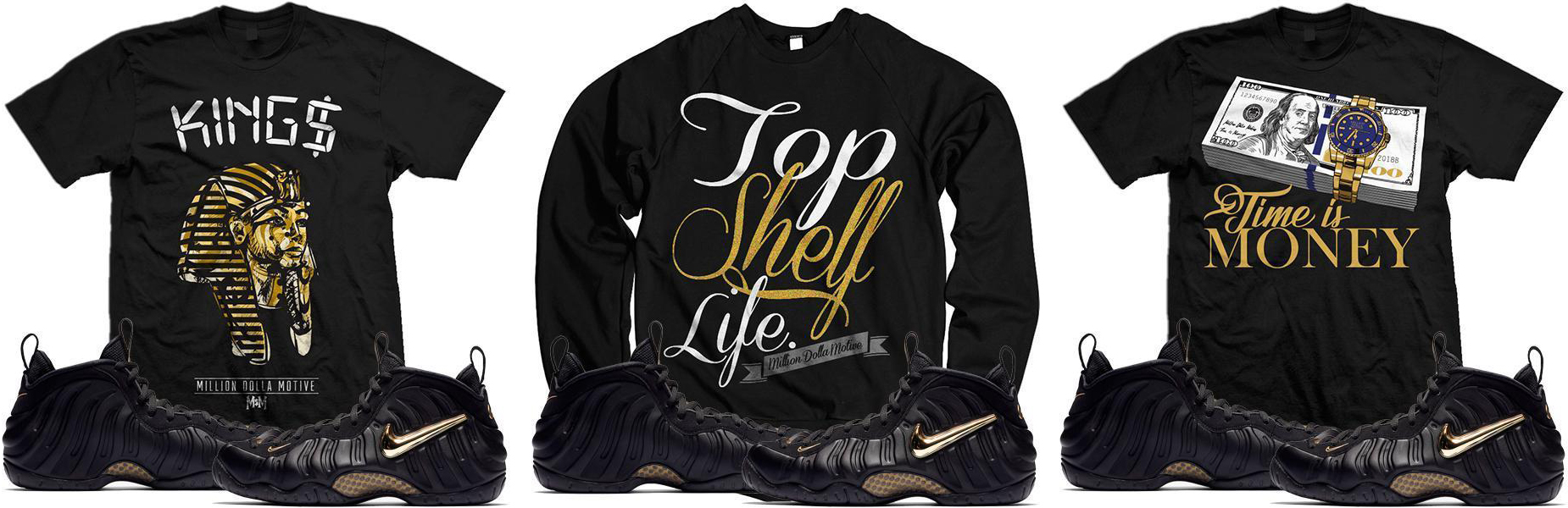 "110b88fa94539 foamposite-black-metallic-gold-sneaker-match-tee-shirts. Matching up with  Nike Air Foamposite Pro "" ..."
