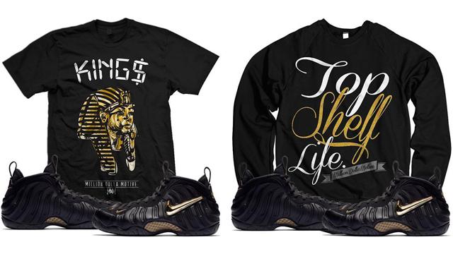 "9554be4a48c Million Dolla Motive Sneaker Shirts to Match the Nike Air Foamposite Pro "" Black Metallic Gold"""
