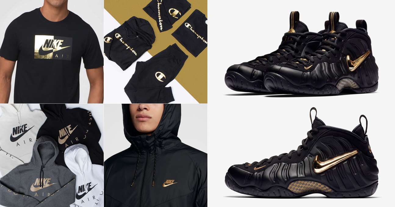 new style ae2a9 51241 Nike Foamposite Pro Black Gold Clothing | SneakerFits.com