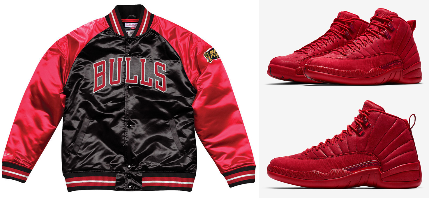 """release date: 01864 32e55 Chicago Bulls Mitchell   Ness Jackets to Match the Air Jordan 12 """"Gym Red"""""""