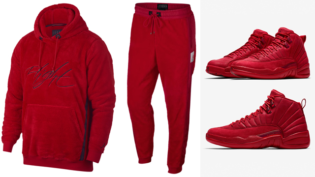 jordan-12-gym-red-sherpa-hoodie-pants-match