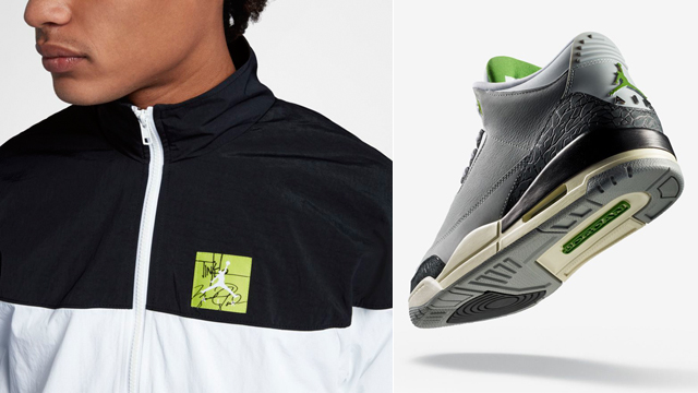 """f4d09a54e8e5 Air Jordan 3 """"Chlorophyll"""" x Jordan Tinker Jacket"""