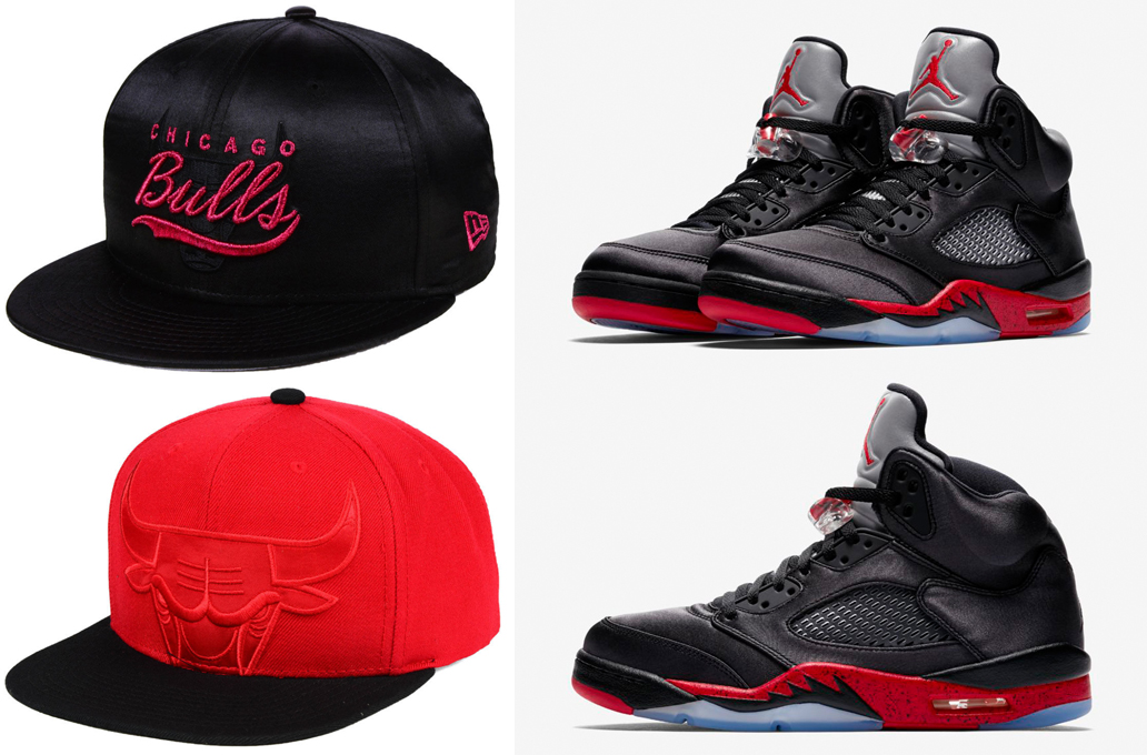 jordan-5-satin-bred-bulls-hat-match