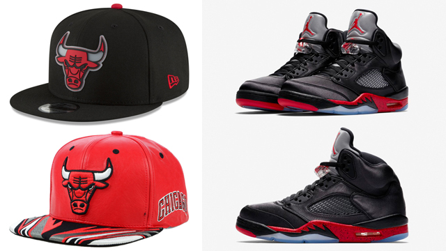jordan-5-satin-bred-new-era-bulls-caps