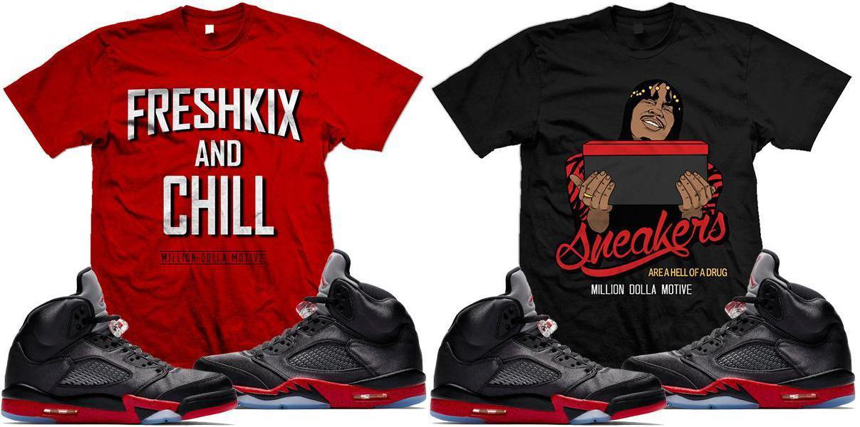818adf2ab663f4 Jordan 5 Bred Satin Sneaker Match Shirts
