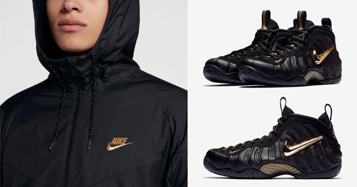 "3c4ecb67df847 Nike Air Foamposite Pro ""Black Metallic Gold"" x Nike Reflective Winterized Windrunner  Jacket"